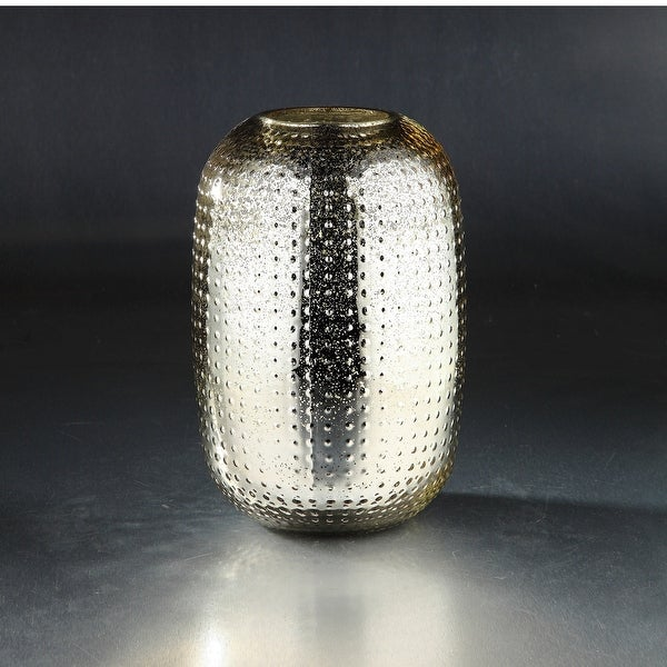 "12"" Gold Colored Textured Metallic Bumpy Glass Oval Vase - N/A"