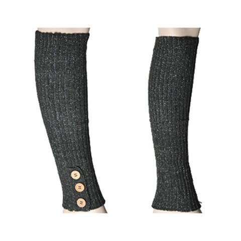 Women's Hunter Green Solid Color Knit Leg Warmer w/ Button Accents LW1000