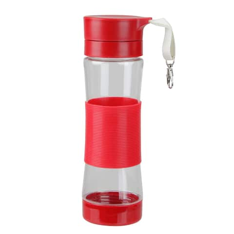 "9.5"" Red Clip-on Water Bottle with Silicone Center Sleeve"
