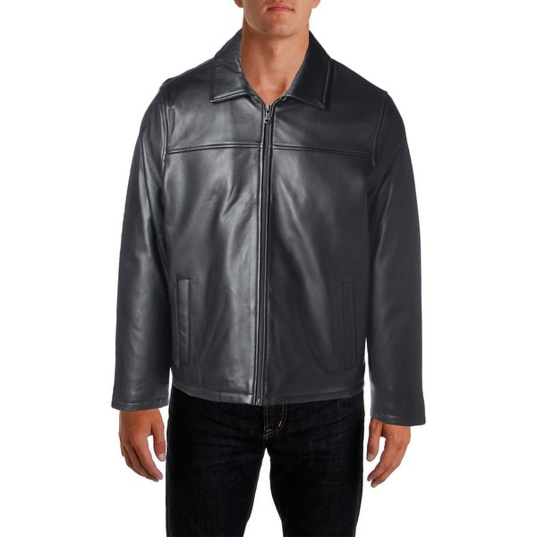 Izod Mens Bomber Jacket Leather Outerwear