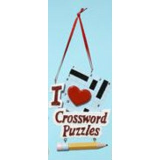 I Love Crossword Puzzles Board & Pencil Christmas Ornament for Personalization