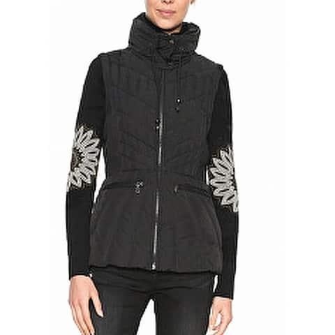 Desigual Women's Jacket Black Size 10 Full-Zip Floral Printed Vest