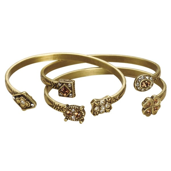 Women's Metal Pinch Bracelets - Bejeweled Victorian Charms Jewelry - Set of 3 - Gold