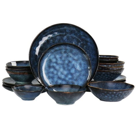 Elama Lucca 20 Piece Round Stoneware Triple Bowl Dinnerware Set in Blue