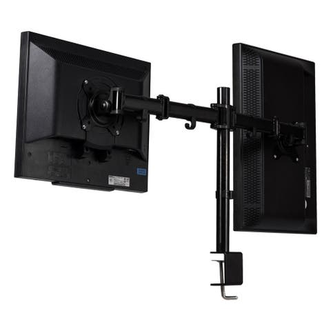 Costway Steel Dual Monitor Arm Desk Table Mount Stand 2 LCD Fully Swivel Clamp up to 27'' - Black