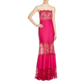 Tadashi Shoji Womens Petites Evening Dress Lace Illusion