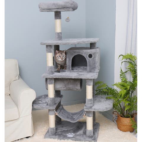 Cat Tree Furniture Kitten Tower Pet Kitty Play House with Hammock