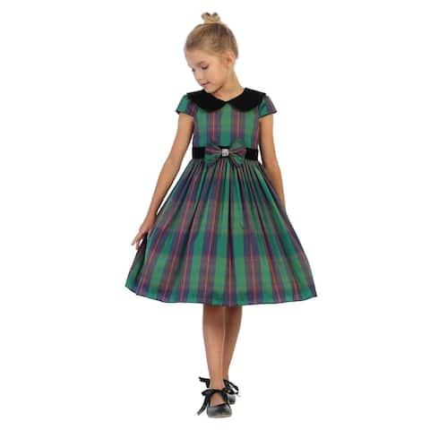Kids Dream Girls Green Plaid Black Velvet Collar Christmas Dress