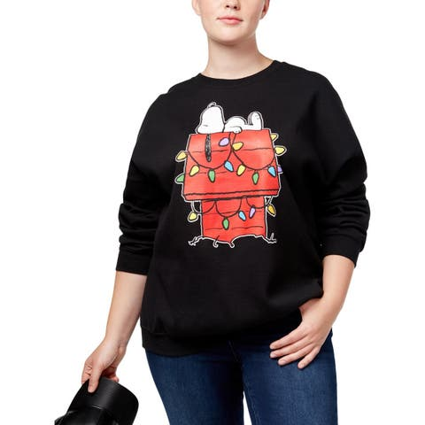 Hybrid Womens Plus Snoopy Christmas Sweatshirt Holiday Party