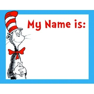 Dr Seuss Cat in the Hat Nametags, 2-7/8 X 2-1/4 Inches, Pack of 40