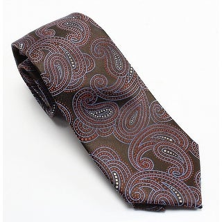 Forsythe NEW Brown Paisley Printed Men's Silk Woven Classic Necktie