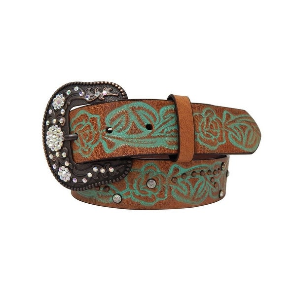 Roper Western Belt Womens Painted Embossed Brown