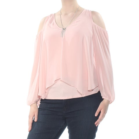 BCX Womens Pink Pleated Cold Shoulder Ruffled Scoop Neck Blouse Party Top Size: XL