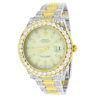 Datejust II Rolex 2 Tone Diamond Watch Full Iced Out Steel / 18k Gold 26 Carat