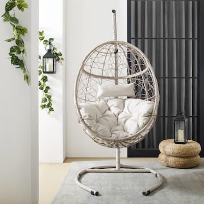 """Cleo Outdoor/ Indoor Wicker Hanging Egg Chair - 42""""W x 42""""D x 81""""H"""