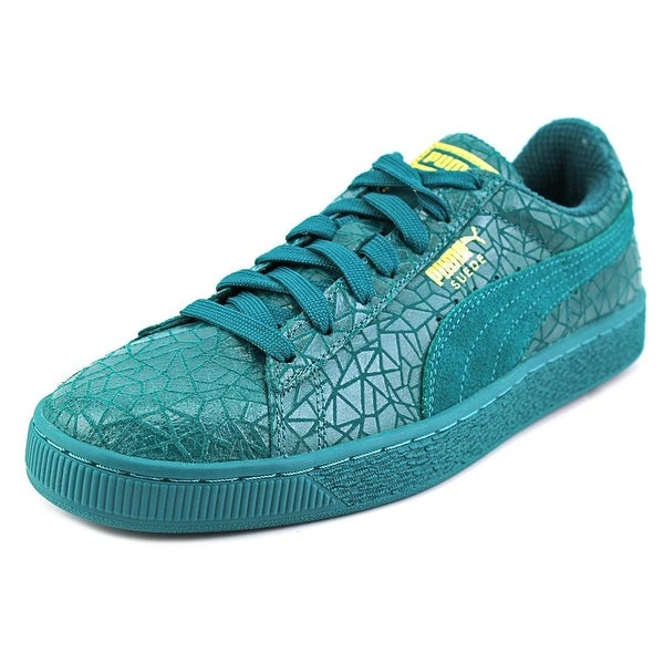 75e4c0fb9100 Puma Suede Crackle Men Round Toe Leather Green Sneakers - Free ...
