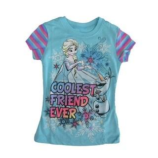 "Disney Little Girls Blue Olaf Elsa ""Coolest Friend Ever"" Cotton T-Shirt"