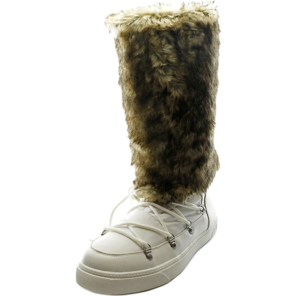 INC International Concepts Soffy Women Round Toe Canvas White Winter Boot