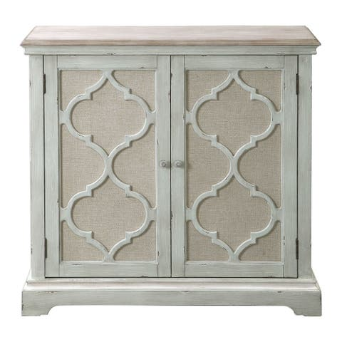 "Uttermost 24872 Sophie 38"" Wide Traditional 2 Door Cabinet with Open Carving and Linen Backed Doors - Weathered Sea Gray"