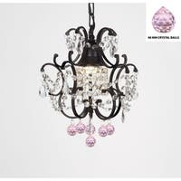 Wrought Iron Mini Crystal Chandelier With Pink Crystal Balls