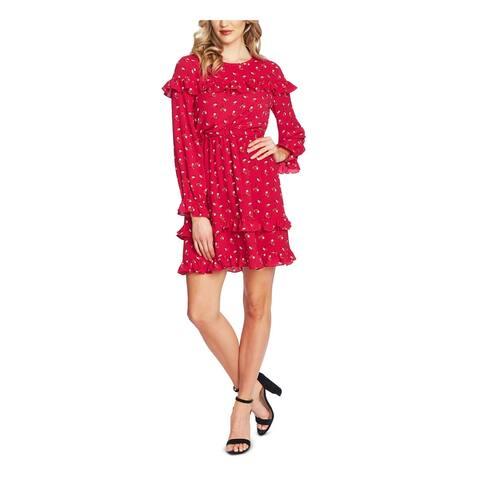 CECE Womens Pink Floral Long Sleeve Short Sheath Party Dress Size L