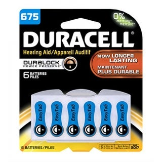 Duracell 00433 Hearing Aid Battery with EasyTab, #675, 6-Pack