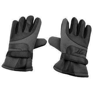 Motorcycle Cycling Anti-skid Adjustable Warm Gloves Dark Gray Black Pair