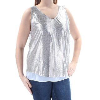 Womens Silver Sleeveless V Neck Party Tiered Top Size L
