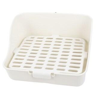 White 28.5cm x 22cm x 15.5cm Rectangle Mesh Design Pet Dog Toilet w Clip