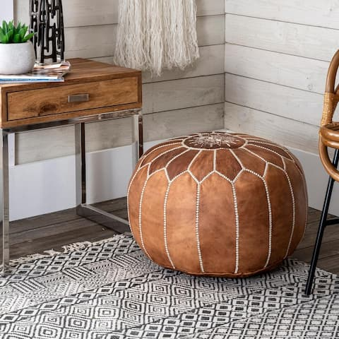 nuLOOM Handmade Moroccan Leather Filled Ottoman Pouf