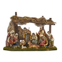 """12-Piece Set Soothing Colored Decorative Holy Family Figures with Stable 24"""" - brown"""