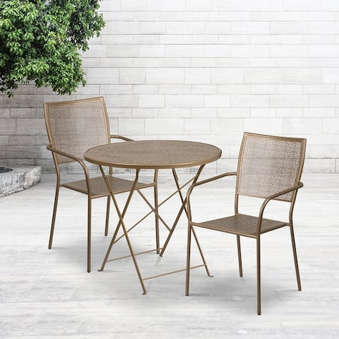 """30"""" Round White Indoor-Outdoor Steel Folding Patio Table Set with 2 Chairs"""