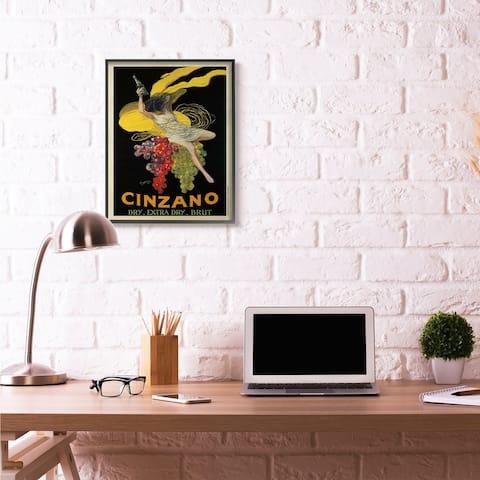 Stupell Industries Cinzano Vintage Poster Wine Design Framed Wall Art
