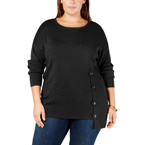 NY Collection Womens Sweater Black Size 1X Plus Side-Button Long Sleeve