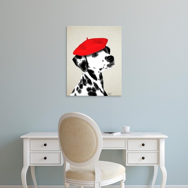 Easy Art Prints Fab Funky's 'Dalmatian With Red Beret' Premium Canvas Art