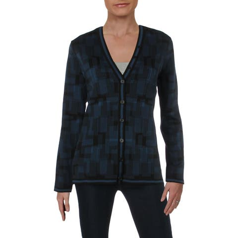 Anne Klein Womens Cardigan Top Jacquard Printed