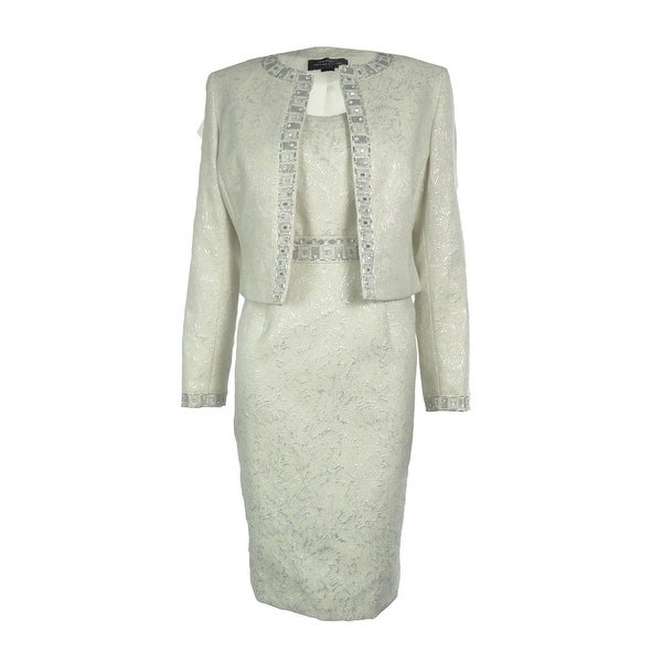 Shop Tahari Women S Beaded Jacquard 2pc Dress Suit Ivory Silver