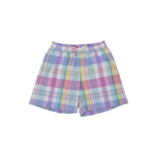 Polo Ralph Lauren Men's Plaid Traveler Swim Trunks - Pink Multi