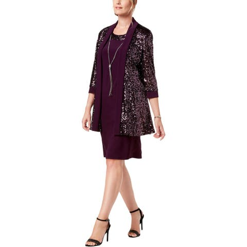 R&M Richards Womens Dress With Jacket Metallic Sequined