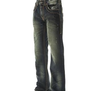B. Tuff Western Denim Jeans Mens Outlaw Bleach Dark Wash