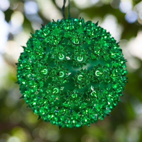 """Wintergreen Lighting 70183 6"""" Starlight Sphere with 50 Green Lights - N/A"""