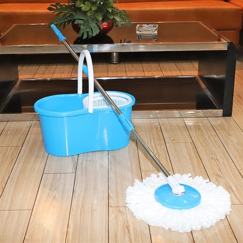 360° Spin Mop with Bucket & Dual Mop Heads Blue/Pink/Green/Purple