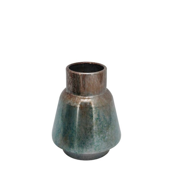Rustic Style Metal Vase with Round Top and Flared Body, Small, Bronze and Blue