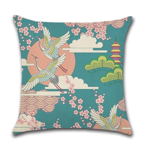 Japanese Flying Egrets Seen Vintage Decorative Throw Pillow Cover 18x18