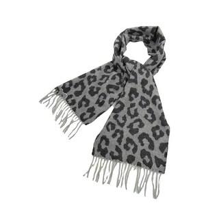 Charter Club Women's Luxury Leopard Cashmere Fringe Scarf - os