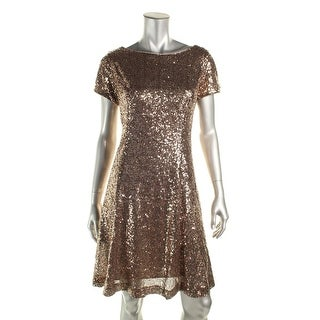 SL Fashions Womens Juniors Sequined Short Sleeves Cocktail Dress