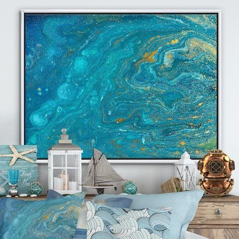 Designart 'Agate Ripple Pattern Marble Texture I' Modern & Contemporary Framed Canvas Wall Art Print
