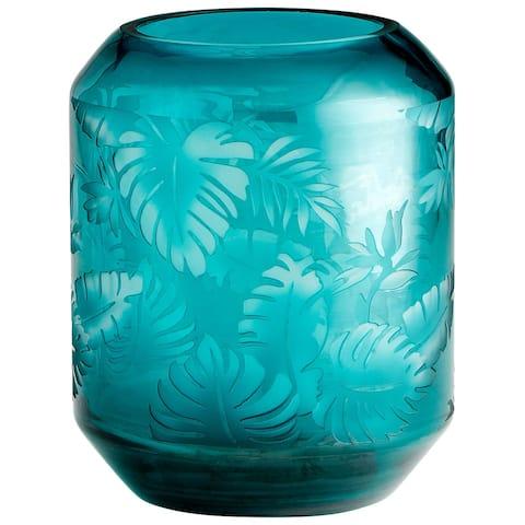 """Cyan Design 10015 Sumatra 8"""" Diameter Glass Vase - Turquoise"""
