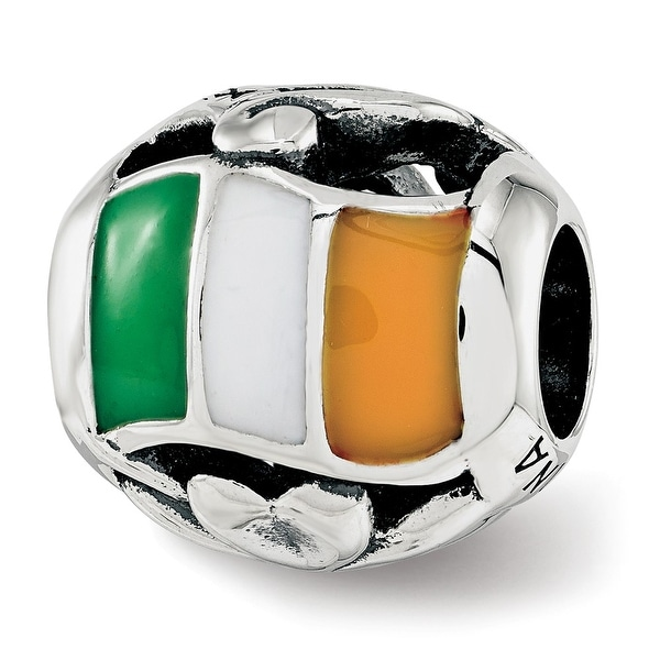 Sterling Silver Reflections Enameled Ireland Theme Bead (4.5mm Diameter Hole)