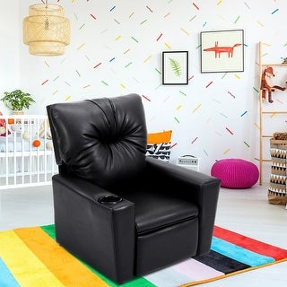 Costway Kids Sofa Manual Recliner Leather Ergonomic Lounge w/Cup Holder Children Gift - Black